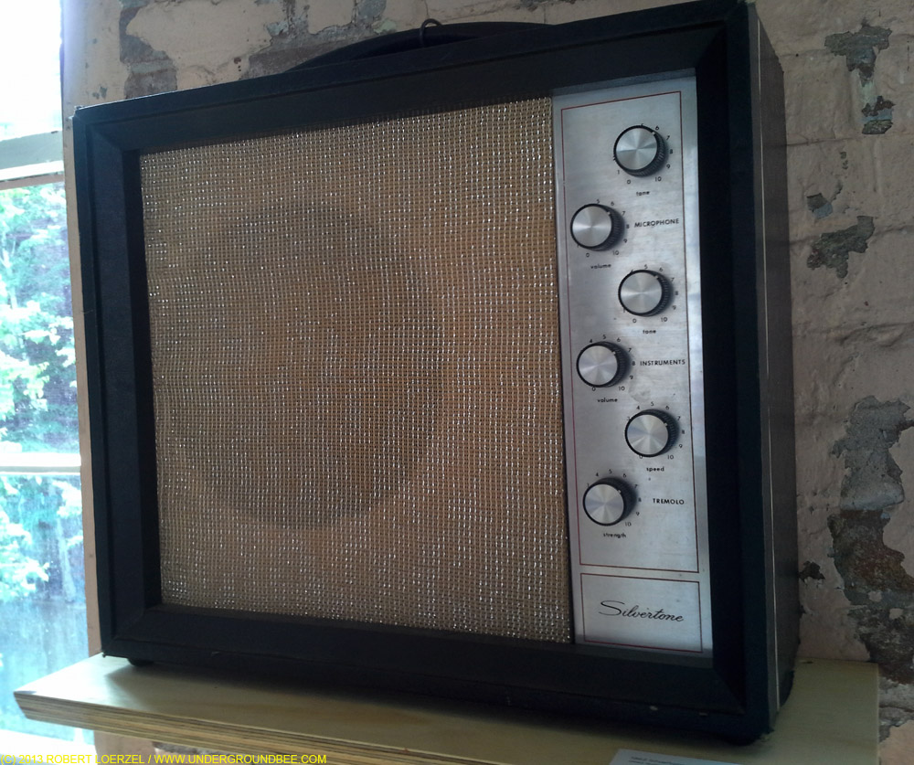 """1962 Silvertone 1482 tube amp used during the """"A.M."""" sessions, on display in """"Jefff Tweedy's Loft"""" at MASS MoCA"""