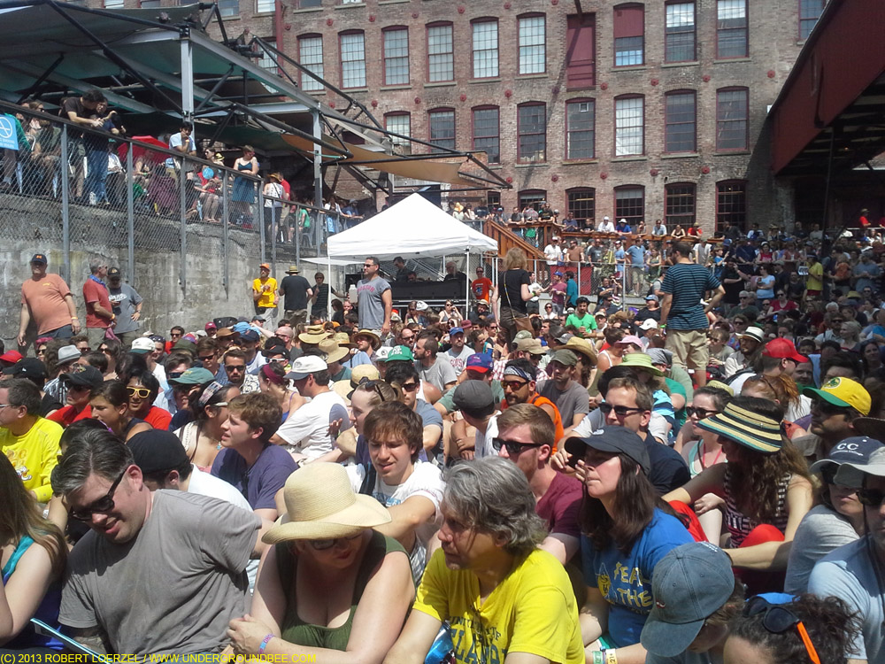 "The crowd gathered in a MASS MoCA courtyard for a live performance of ""Radio Lab"""