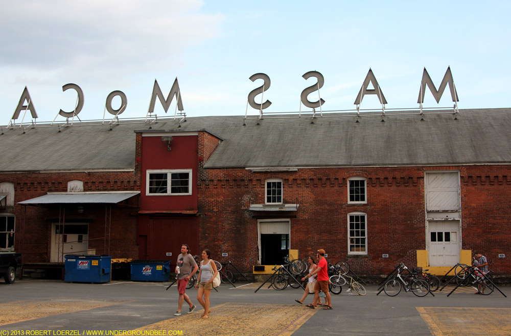 A courtyard at MASS MoCA