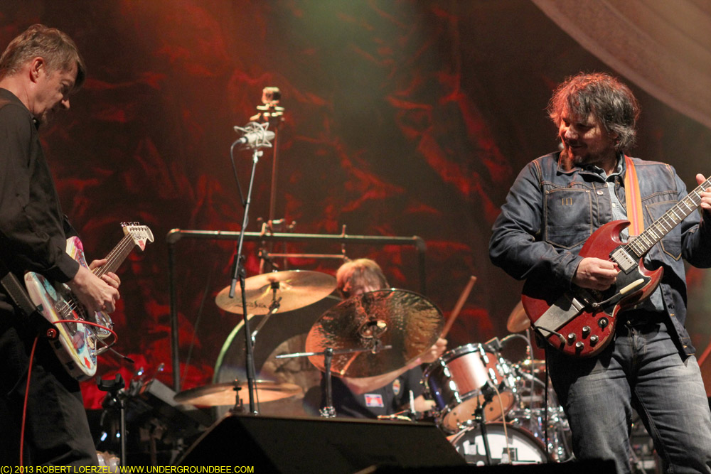 Nels Cline, Glenn Kotche and Jeff Tweedy, during the June 21 Wilco concert