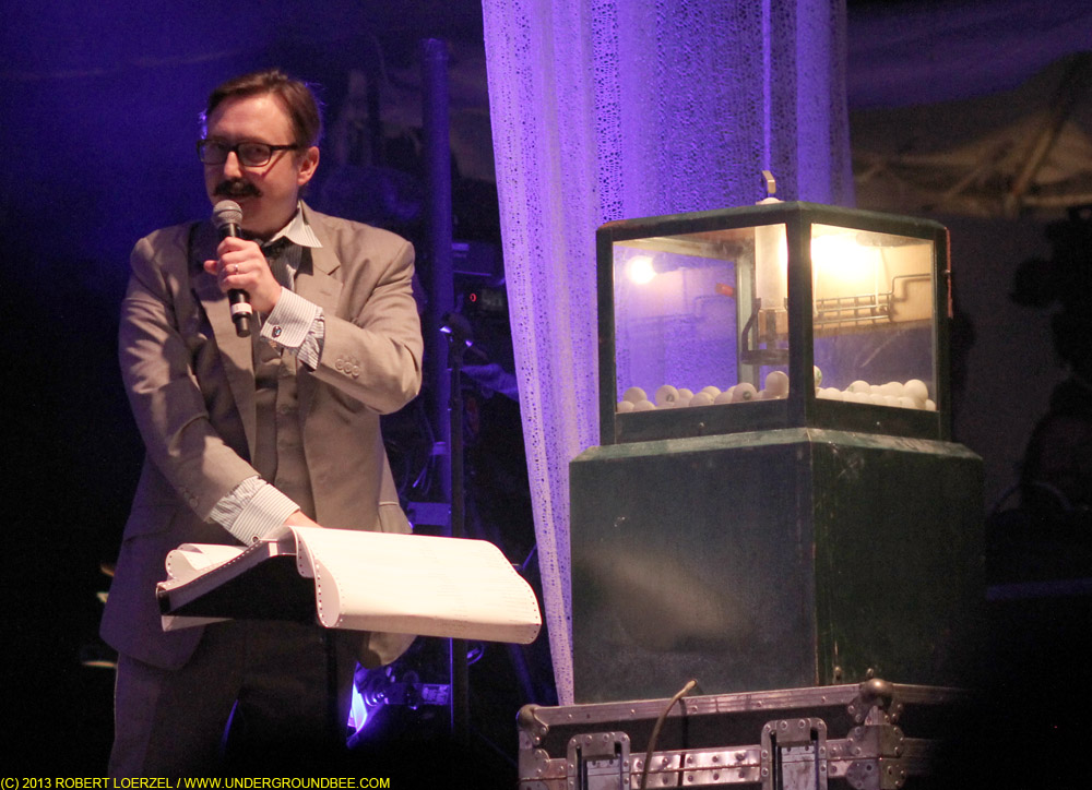 "John Hodgman, ""randomizing"" during the June 21 Wilco concert"