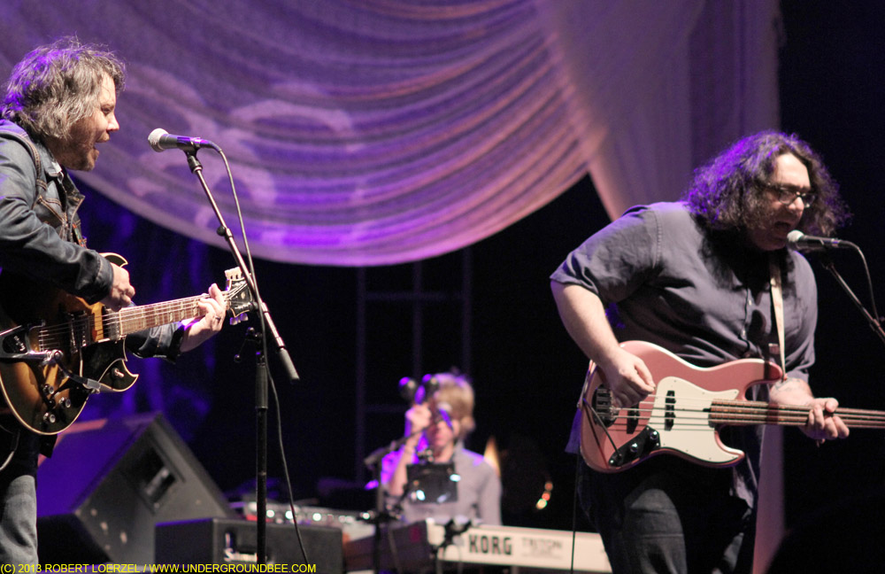 Jeff Tweedy, Pat Sansone and James McNew of Yo La Tengo, during the June 21 Wilco concert