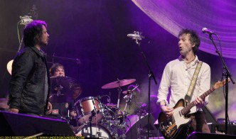 Jeff Tweedy, Glenn Kotche and Tommy Stinson, during the June 21 Wilco concert