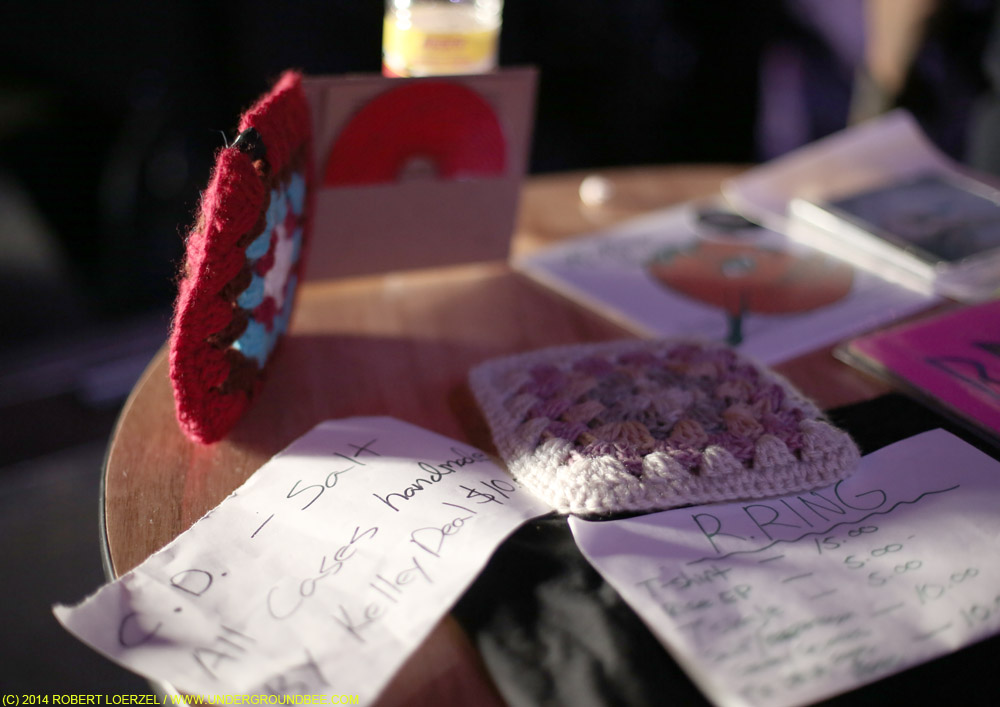 R. Ring's merch table, with Kelley Deal's handmade CD covers