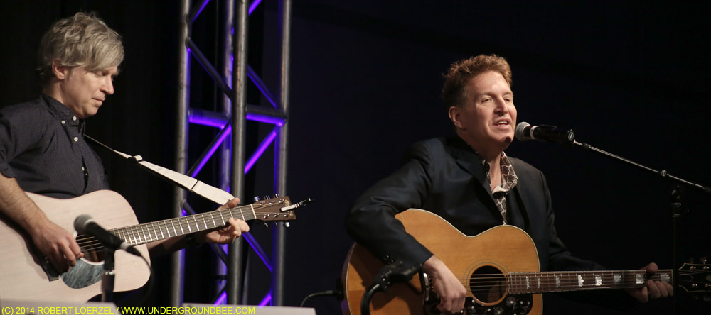 "Matthew Caws and Steve Wynn at the ""Warehouse: Songs and Stories"" songwriting panel"