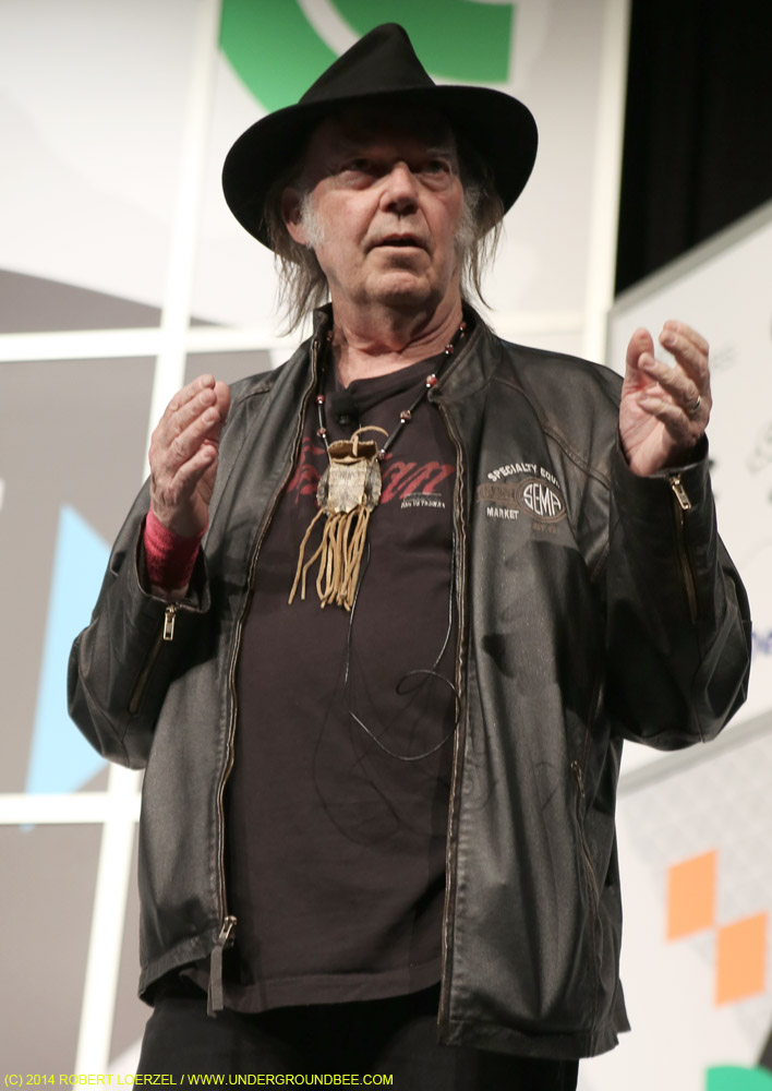Neil Young speaks at the Austin Convention Center.