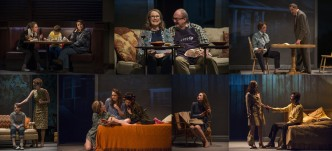 Photos by Michael Brosilow, Steppenwolf Theatre. Photos in top row, from left to right: Madeline Weinstein as Wendy Gilbert, Jack Edwards as Louis Gilbert and Rebecca Spence as Mary Page Marlowe; Blair Brown as Mary Page Marlowe and ensemble member Alan Wilder as Andy; Laura T. Fisher as Mary Page Marlowe and Ian Barford as Ray. Photos in bottom row: Caroline Heffernan as Mary Page Marlowe and Amanda Drinkall as Roberta Marlowe; Tess Frazer as Lorna, Annie Munch as Mary Page Marlowe and Ariana Venturi as Connie; Carrie Coon as Mary Page Marlowe; Coon and Gary Wilmes as Dan.