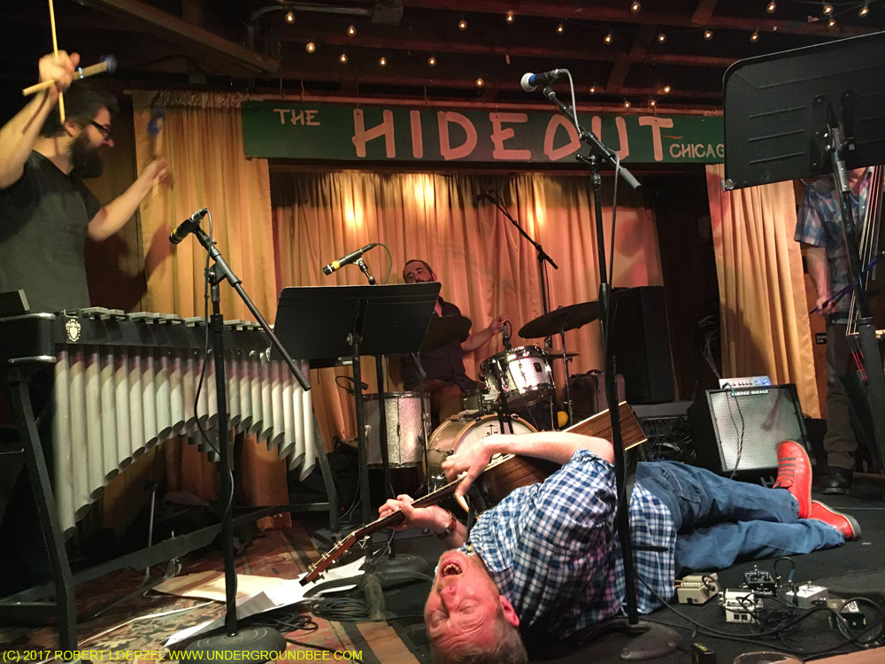 """Fulks takes a guitar solo during the """"Carter Family Jazz Style"""" show on March 28, 2016, with Jason Adasiewicz, Kent Kessler and Gerald Dowd."""
