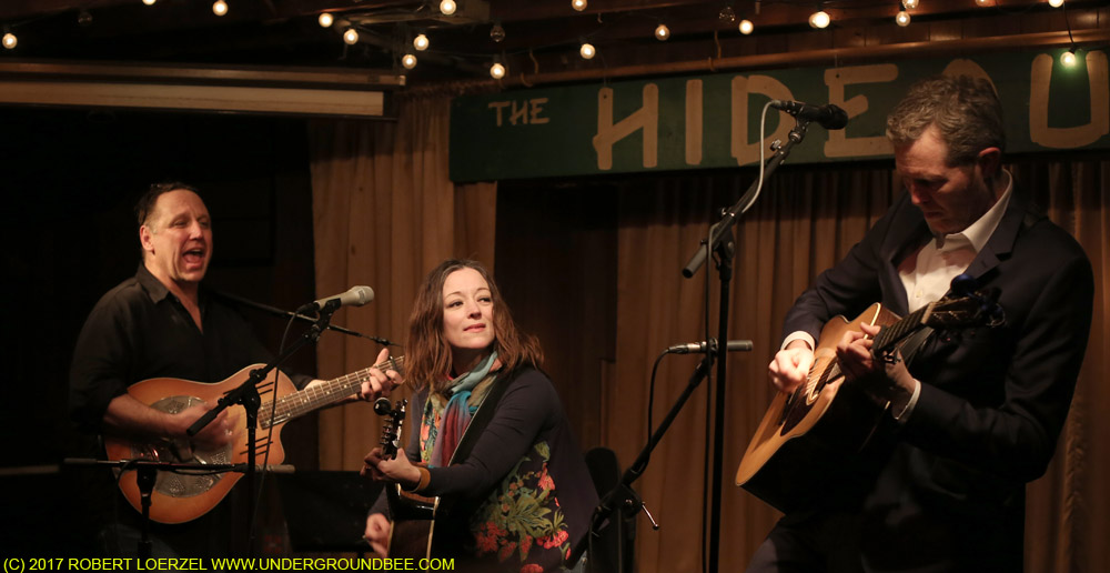 Robbie Gjersoe, Nora O'Connor and Robbie Fulks during the final show of Fulk's Monday-night residency at the Hideout, on February 27, 2017.